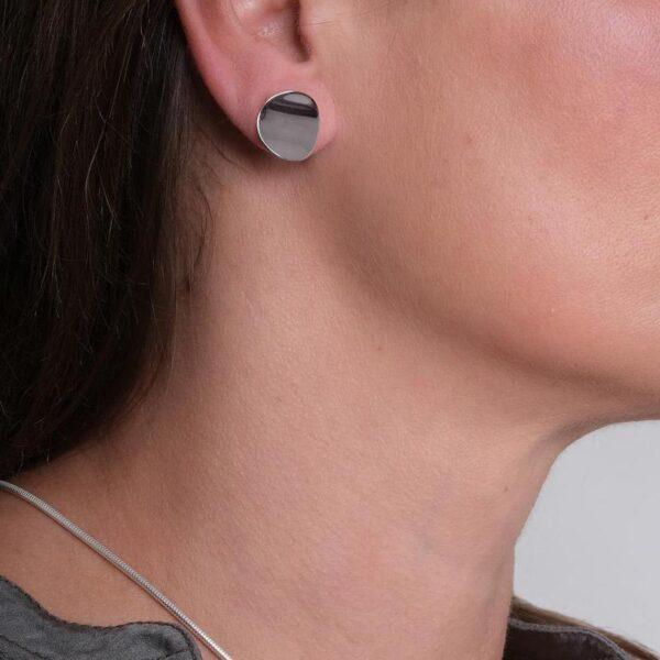 Atlantic Large Silver Stud Earrings