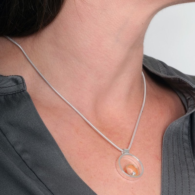 Circles Gold Diamond Pendant - Maureen Lynch