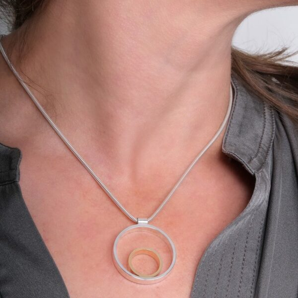 Circles Medium Silver & Gold Pendant