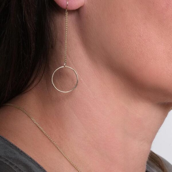 Gold Circle Long Chain Earrings