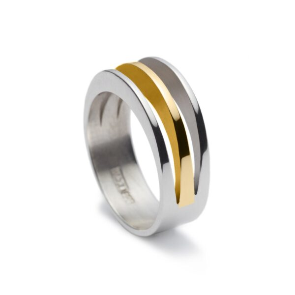 Circle of Dreams Silver and Gold Ring. Unique designer jewellery handcrafted in Ireland.
