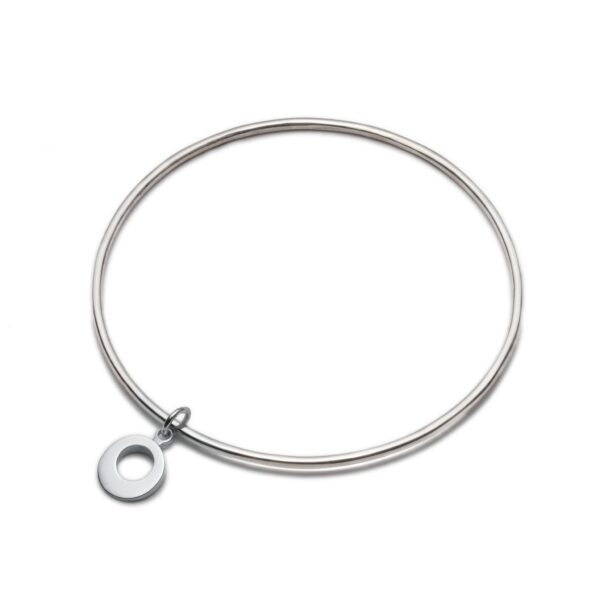 Silver Bangle with Silver Charm. Unique designer jewellery handcrafted in Ireland.