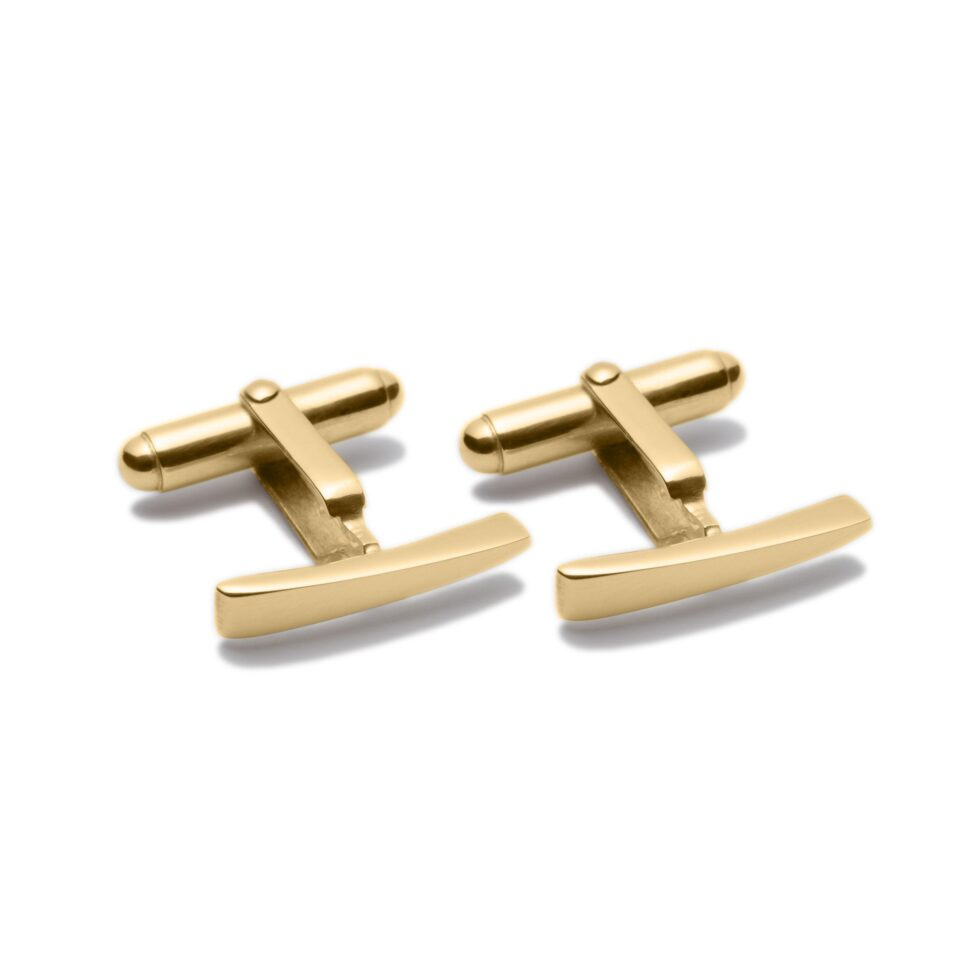 Circle of Dreams Gold Bar Cuff-links.Unique designer jewellery handcrafted in Ireland.