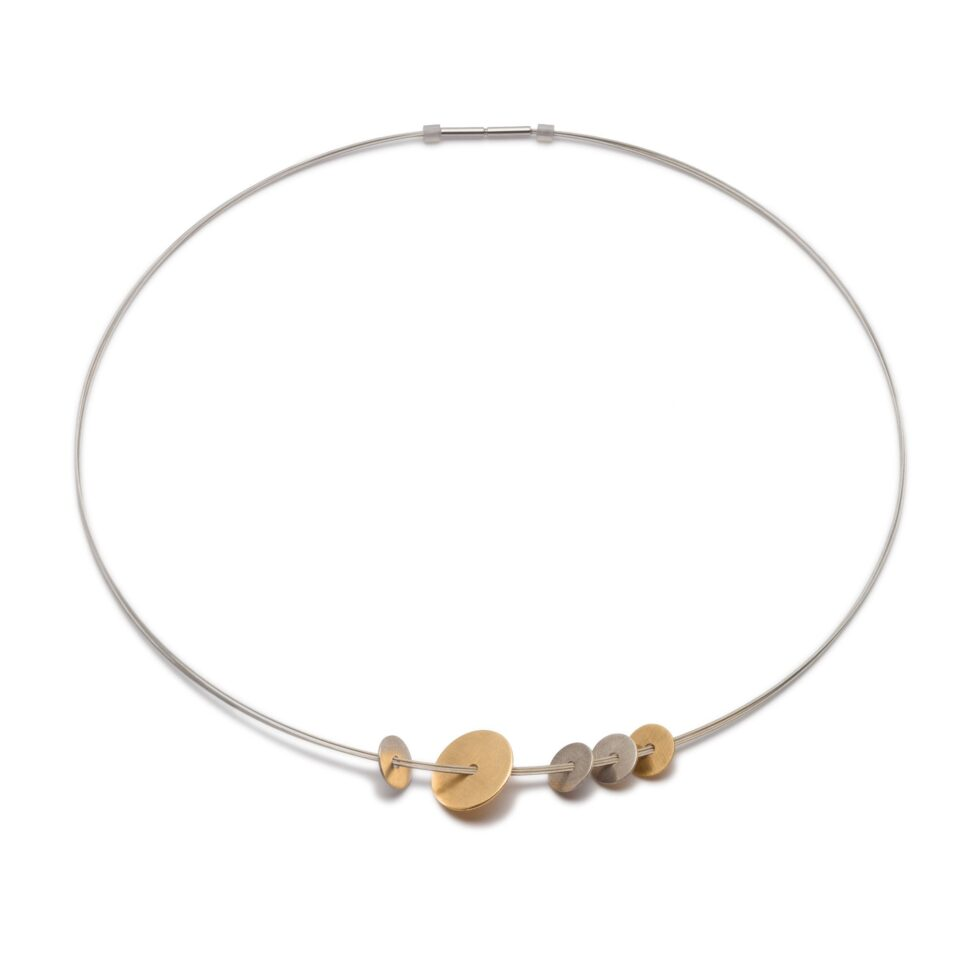 Sterling Silver and 9ct Yellow Gold Discs on Steel Multi-Strand neck-wire. Unique designer jewellery handcrafted in Ireland.