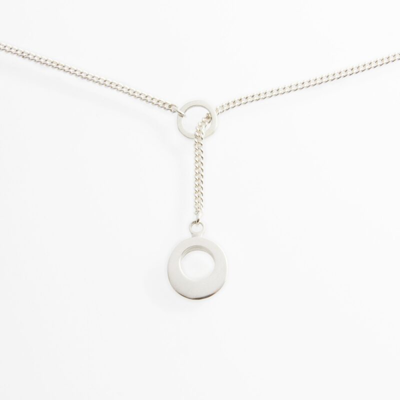 """Silver Lariat Pendant. Material : Sterling Silver. Measurements: Pendant 11mm diameter (approx.) Chain 45cm/18"""" with adjuster at 42cm/16"""". Design Year: 2013"""