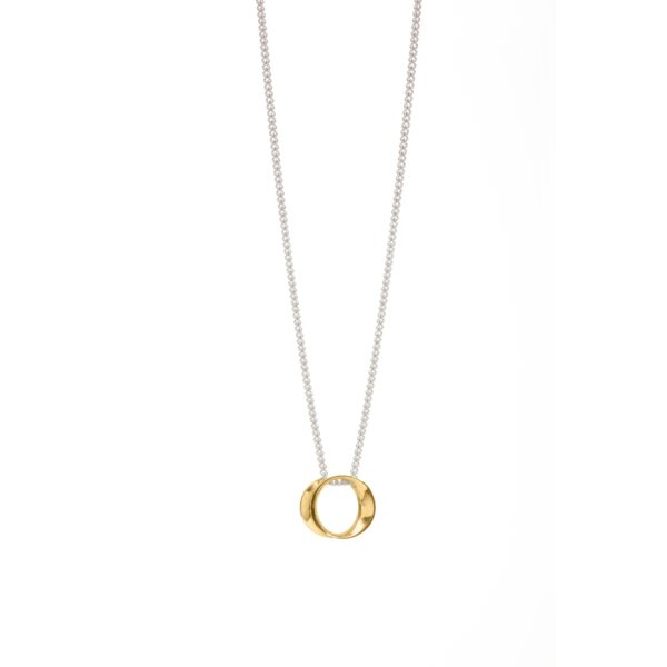 Wave mini silver & gold pendant 2-Maureen Lynch Jewellery