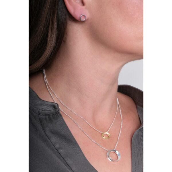 Wave mini silver & gold pendant-Maureen Lynch Jewellery