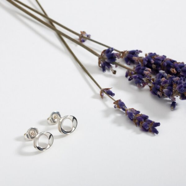 Wave silver stud earring with lavender-Maureen Lynch